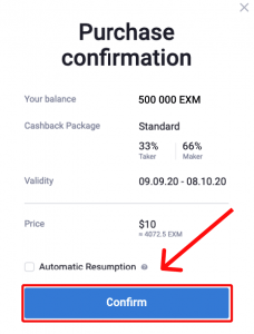 Confirm the Premium Cashback purchase