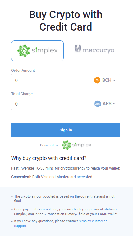 Buy with Simplex