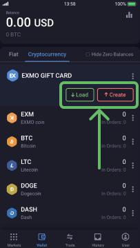 Choose load or create Gift Card