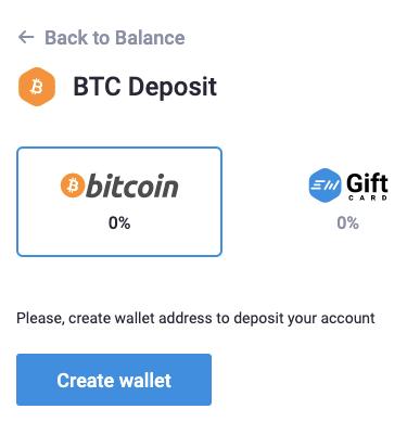 Create BTC Wallet