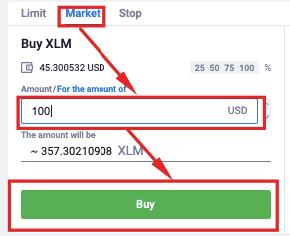 Market order Buy XLM