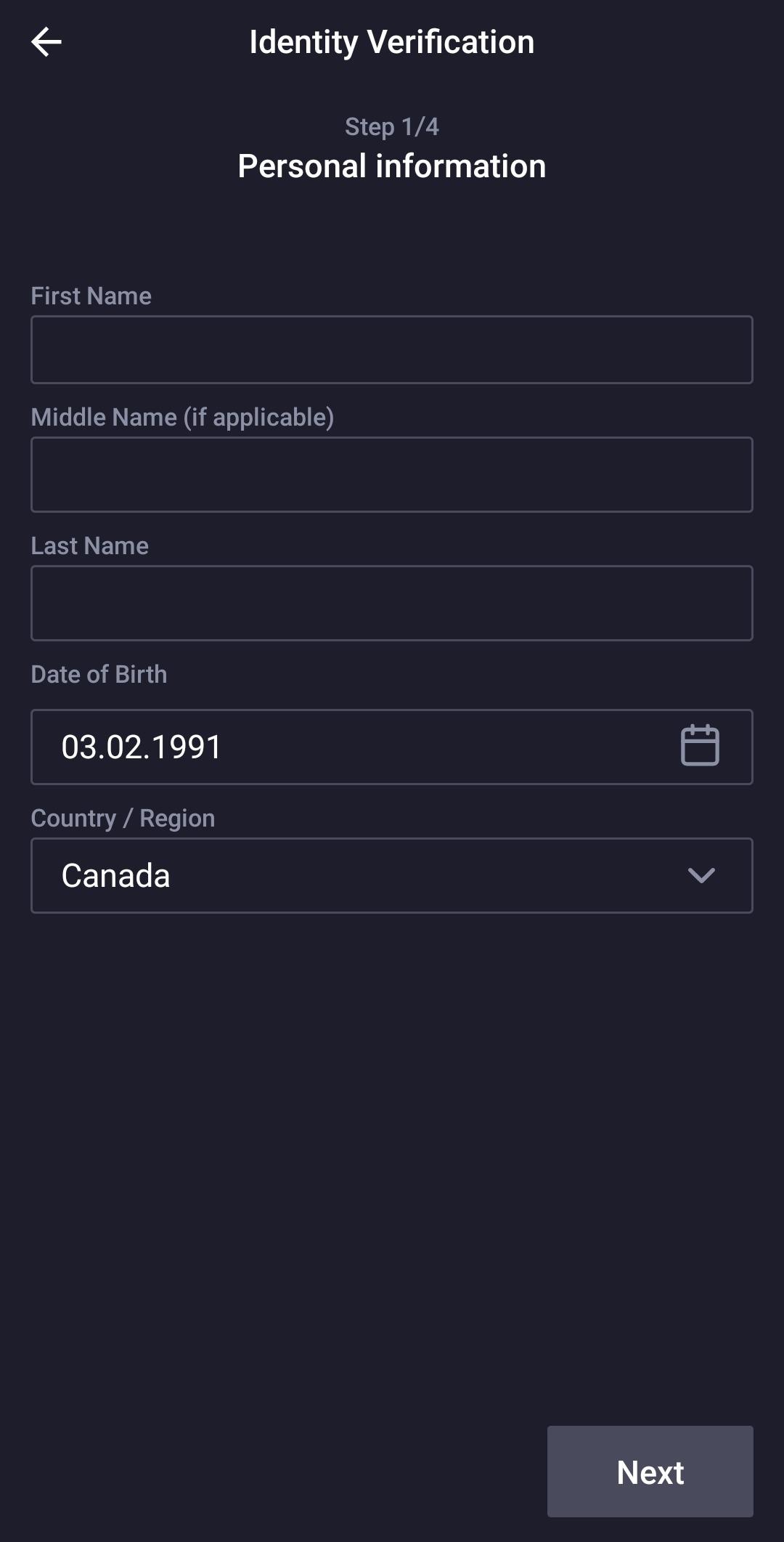 Identity verification 1 step
